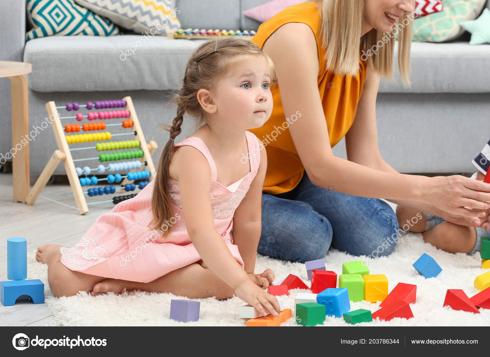 Young Woman Cute Girl Playing Constructor Floor Home Stock Photo