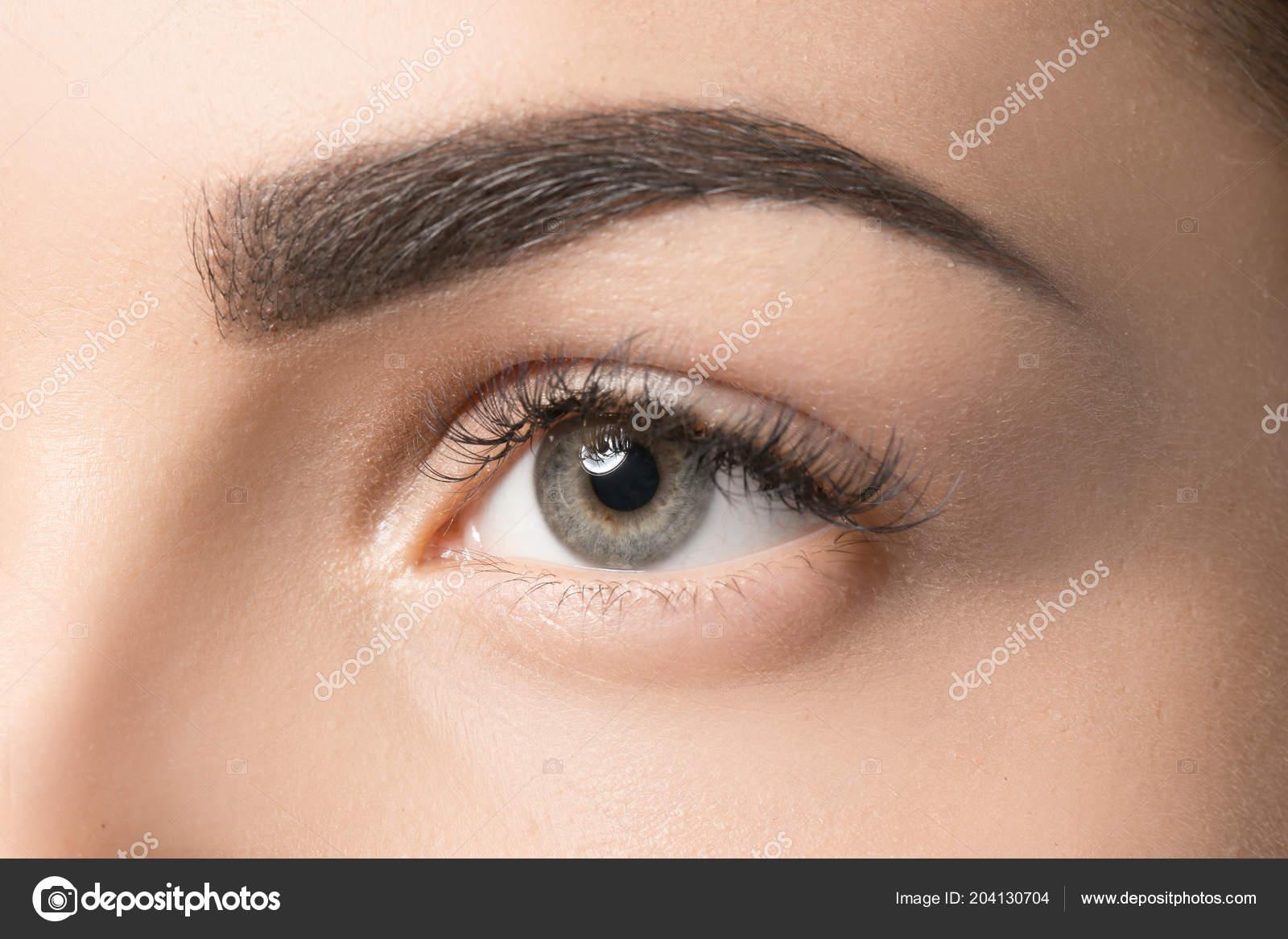 Young Woman Permanent Eyebrows Makeup Closeup Stock Photo