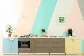 Moderní kuchyně nábytek na barvu zdi pozadí