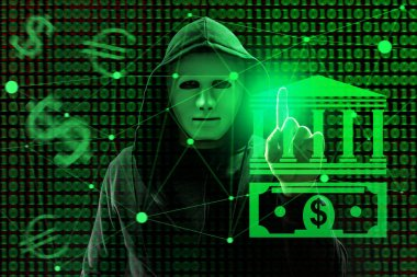 Hacker working with virtual screen against dark background. Threat of cyber attack and financial fraud