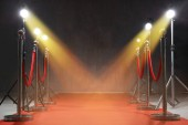 Fotografie Red carpet, rope barriers and spot lights indoors