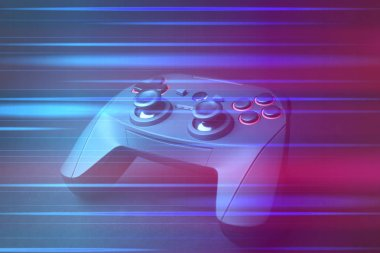 Video game controller on dark background, colorful effect. Leisure and entertainment