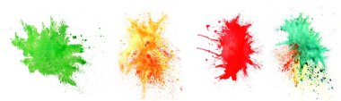 Set of watercolor splashes on white background. Celebration of Holi festival stock vector