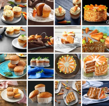 Set with tasty different carrot desserts