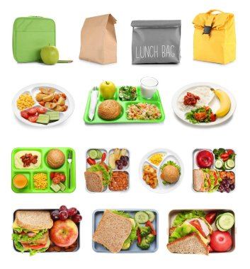 Set of food for school lunch on white background