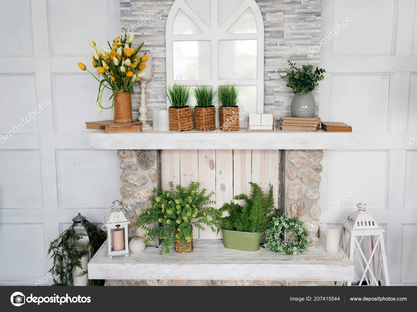 White Wooden Shelf Bouquet Tulips Grass Pot Greenery Vase