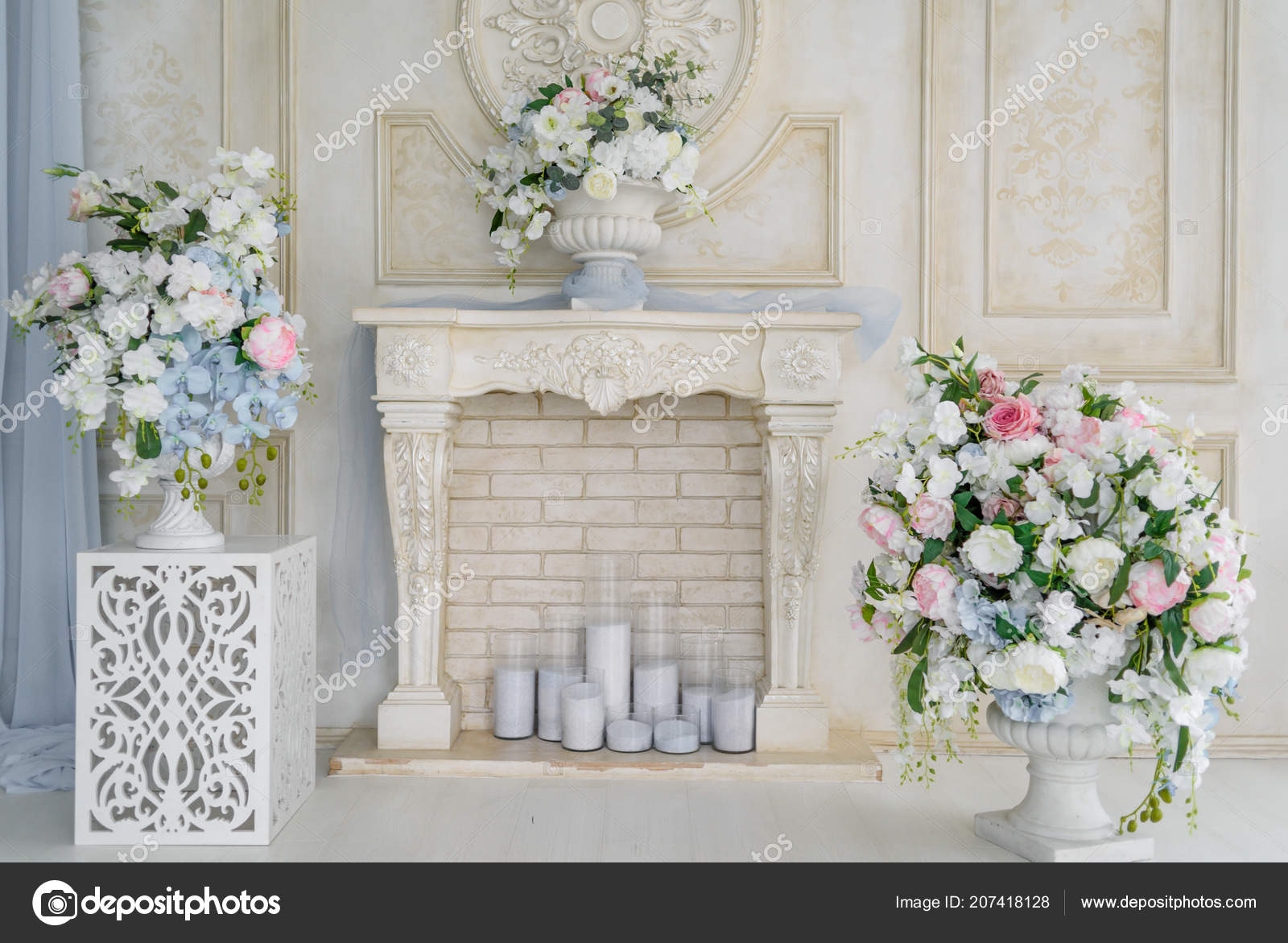 Decorative Fireplace Flowers Candles Brick Wall Room Free Space Floral Stock Photo Image By C D Duda 207418128