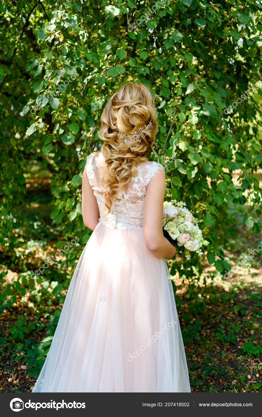 Beautiful Bride Wedding Dress Bridal Bouquet Park Outdoors Back View Stock Photo C D Duda 207418502