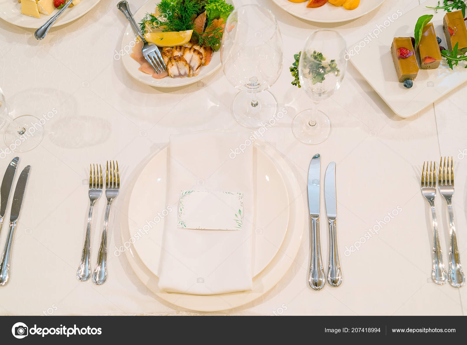 Dinner Place Setting Blank Guest Card White Table Napkin Wedding Stock Photo Image By C D Duda 207418994