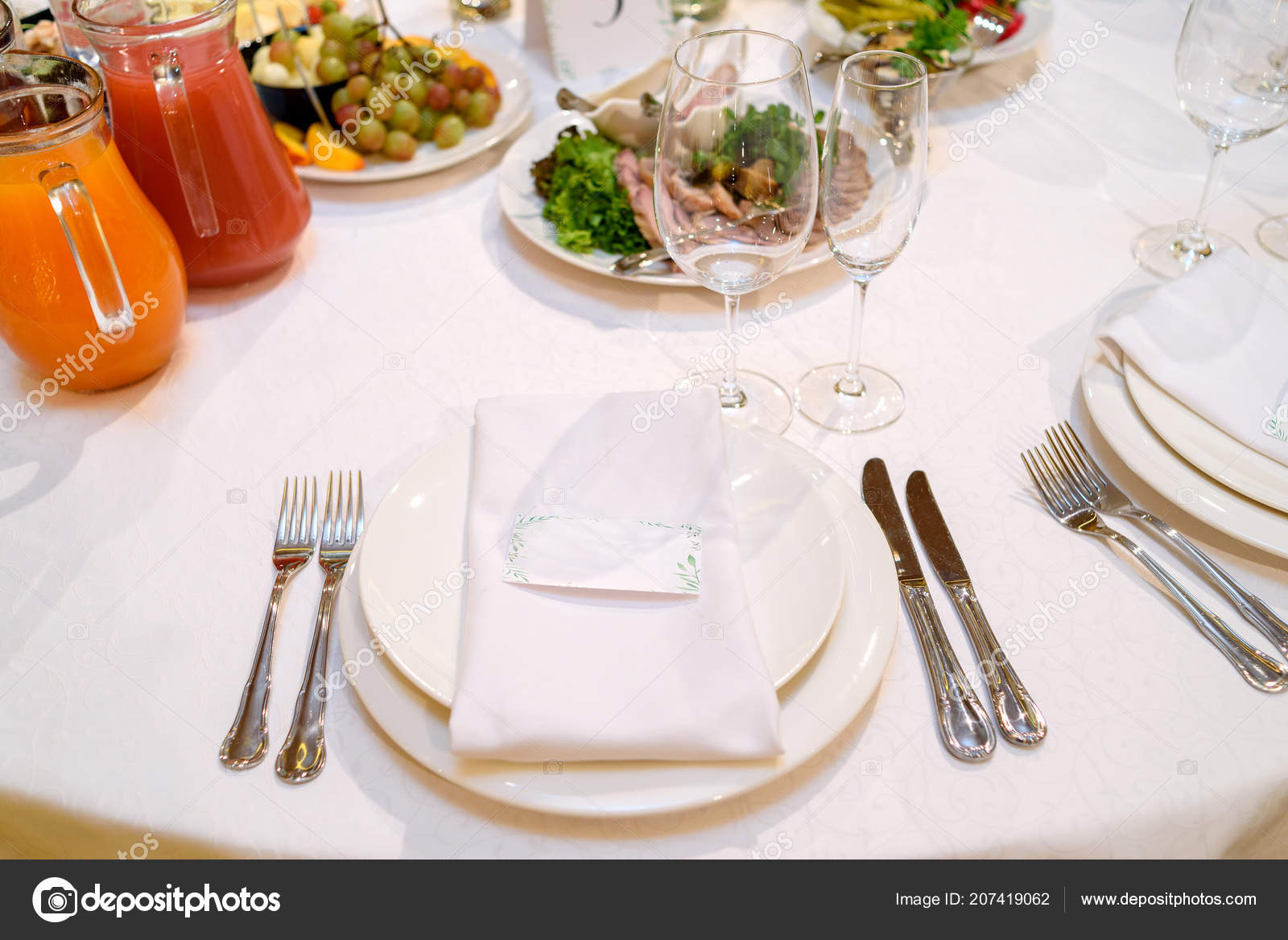 Dinner Place Setting Blank Guest Card White Table Napkin Wedding Stock Photo Image By C D Duda 207419062