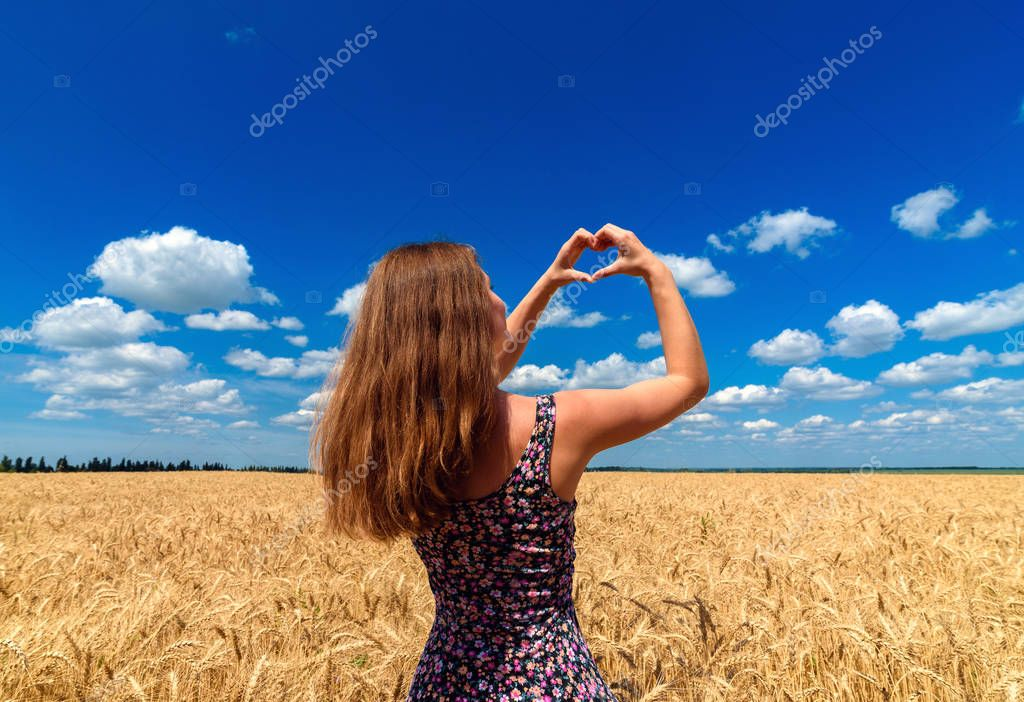 Back view of happy young woman in golden wheat field forming heart shape with fingers on cloudy blue sky, free space. Girl holding hands in heart shape on blue sky background. Love and liberty concept
