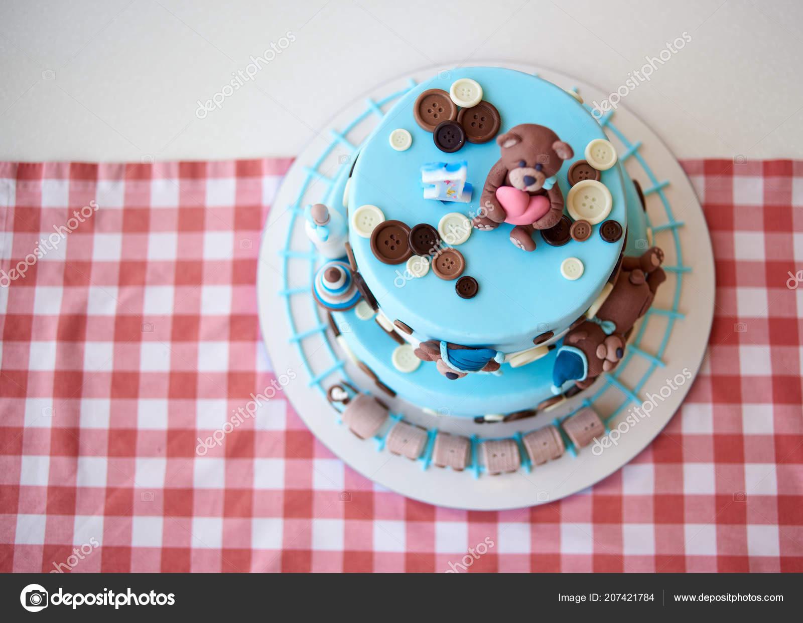 Redonda Multi Niveles Azul Pastel Decorado Con Botón