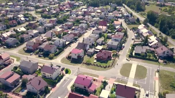 Suburbs seen from above. Aerial footage of small town in Europe.