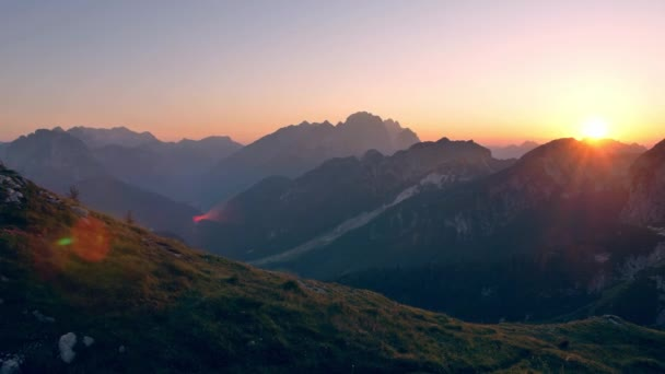 Beautiful sunset over Alps.  View from Mangart saddle. Landscapes of Slovenia.
