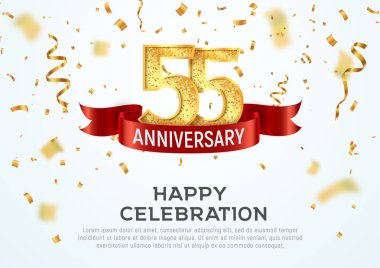 55 years anniversary vector banner template. Fifty-five year jubilee with red ribbon and confetti on white background