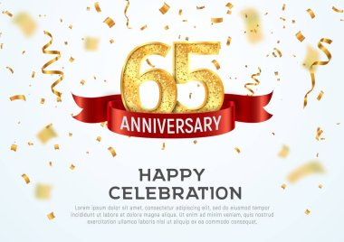 65 years anniversary vector banner template. Sixty-five year jubilee with red ribbon and confetti on white background