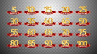 Set of anniversary isolated numbers on transparent background. 5, 10, 15, 20, 25, 30,35, 40, 45, 50, 55, 60, 65, 70, 75, 80, 85, 90, 95, 100 golden years with red ribbons jubilee template