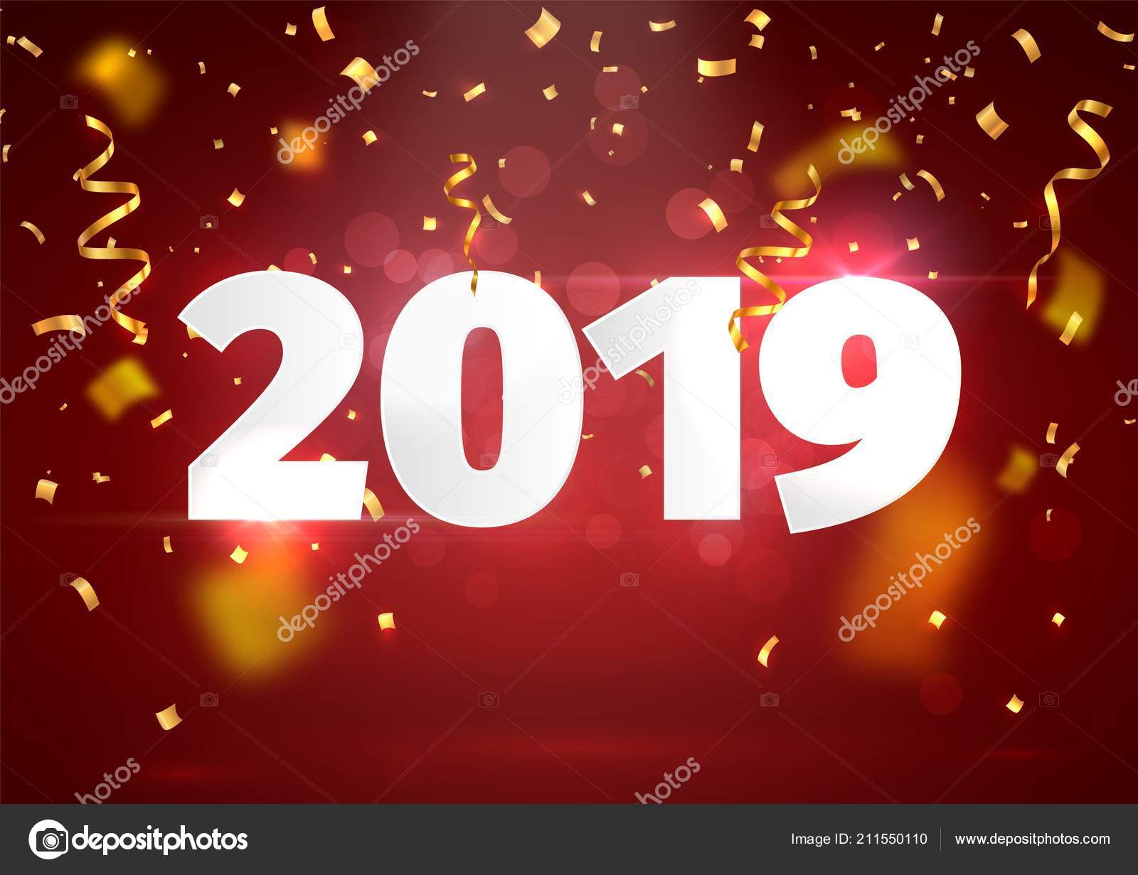 Happy New Year red background with blur golden tickers Paper