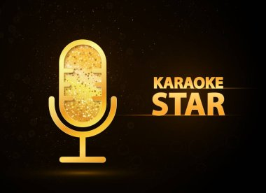 Karaoke music club web banner vector illustration. Golden microphone icon with abstract text on black background