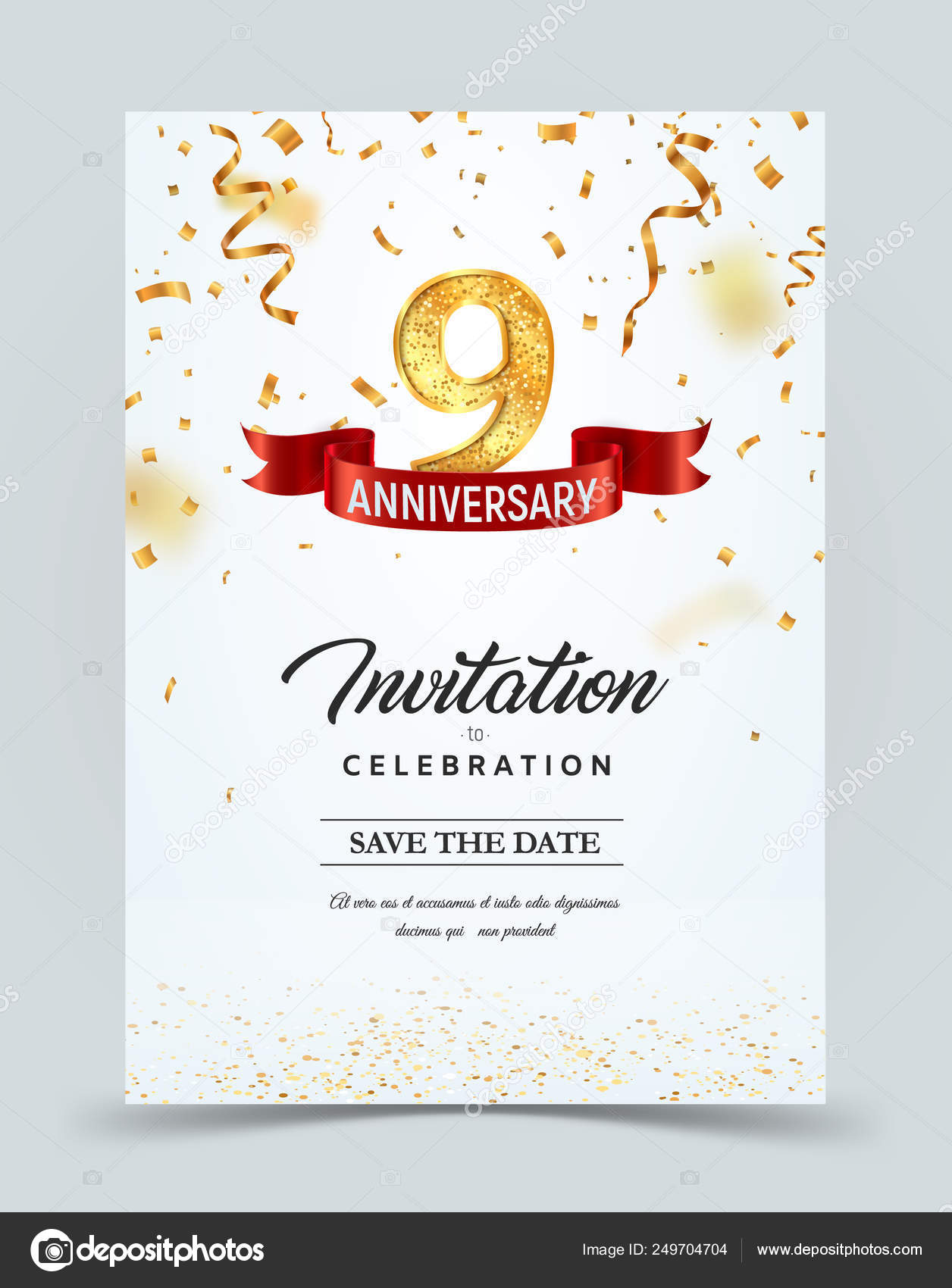 Plantilla De Tarjeta De Invitación De Aniversario De 9 Años