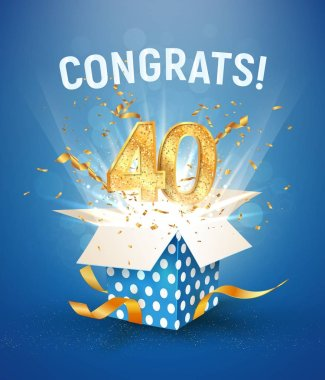 40 th years anniversary and open gift box with explosions confetti. Isolated design element. Template fortieth birthday celebration on blue background vector Illustration