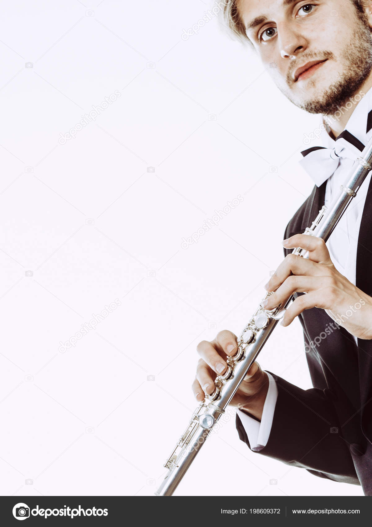 Classical Music Study Concept Male Flutist Musician