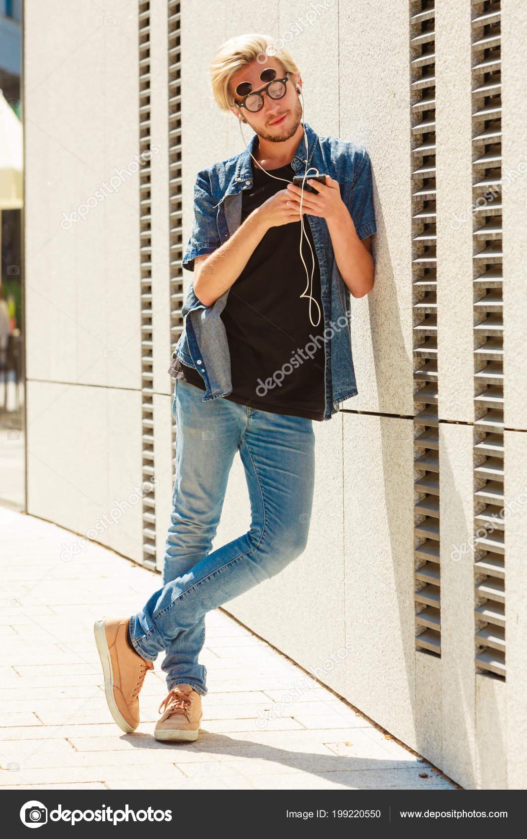 Men Fashion Technology Urban Style Clothing Concept Hipster Guy Standing Stock Photo C Anetlanda 199220550