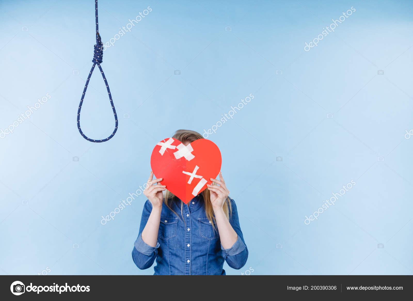 Sad Depressed Woman Thinking Suicide Having Broken Heart Relationship Breakup Stock Photo C Anetlanda 200390306
