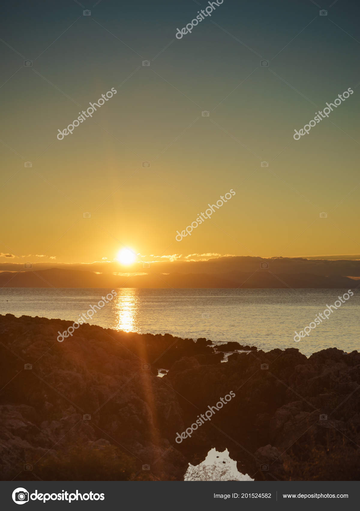 Greek Coastline Early Morning Sun Rising Greece Peloponnese