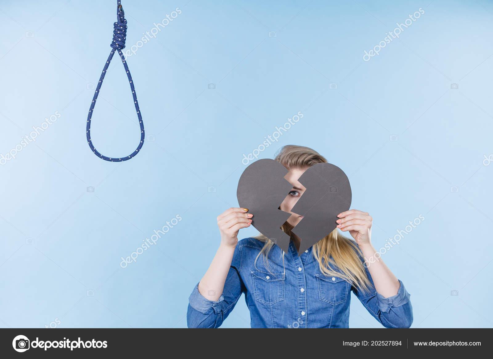 Sad Depressed Woman Thinking Suicide Having Broken Heart Relationship Breakup Stock Photo C Anetlanda 202527894