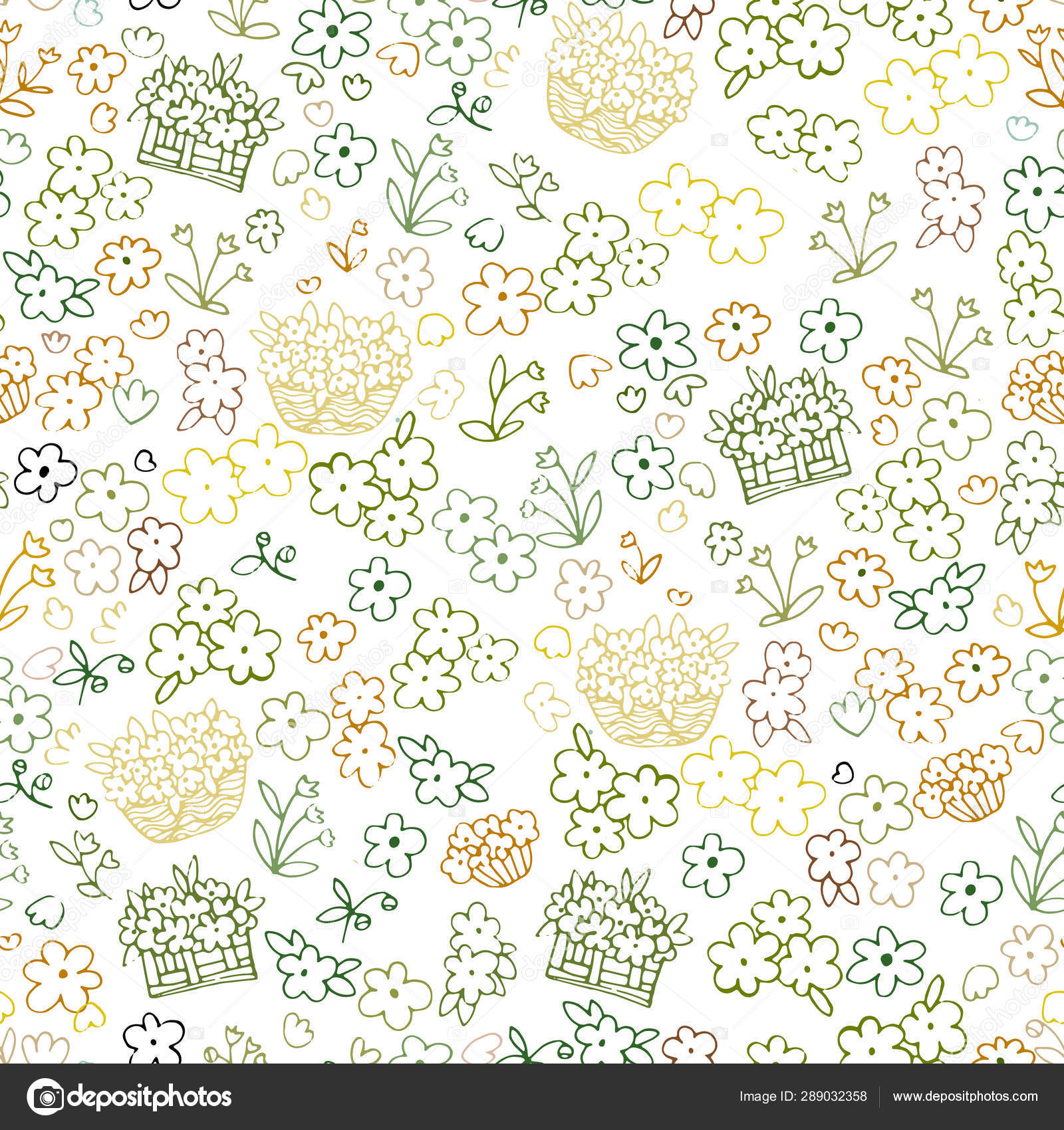 Cute Seamless Floral Pattern Simple Flowers Background For Fabric