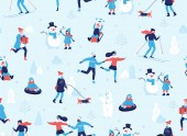 Photo Winter sports outdoors seamless pattern. People having fun and winter activities in the park, skiing, skating, snowboarding, walking the dog, making a cute snowman, cartoon characters in flat design.