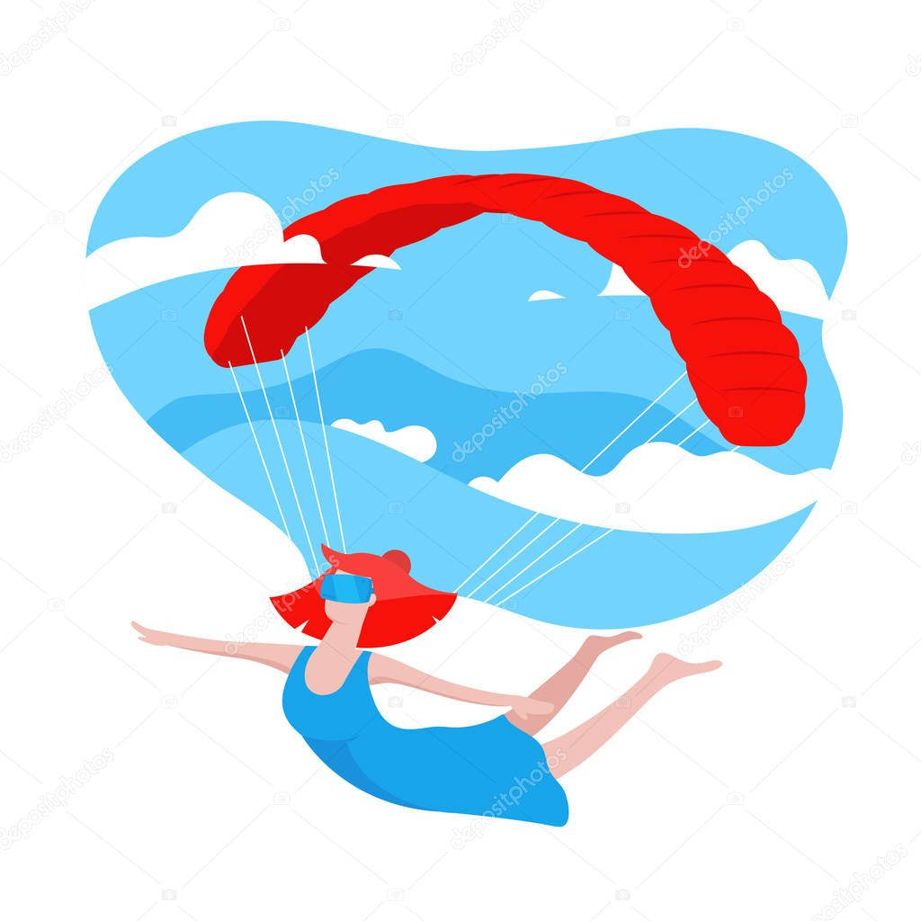 Woman Wearing Modern 3d Glasses, playing VR game. Virtual Reality Concept. Girl flying with a parachute and blue sky with clouds on background. Colorful illustration in cartoon style in flat design.