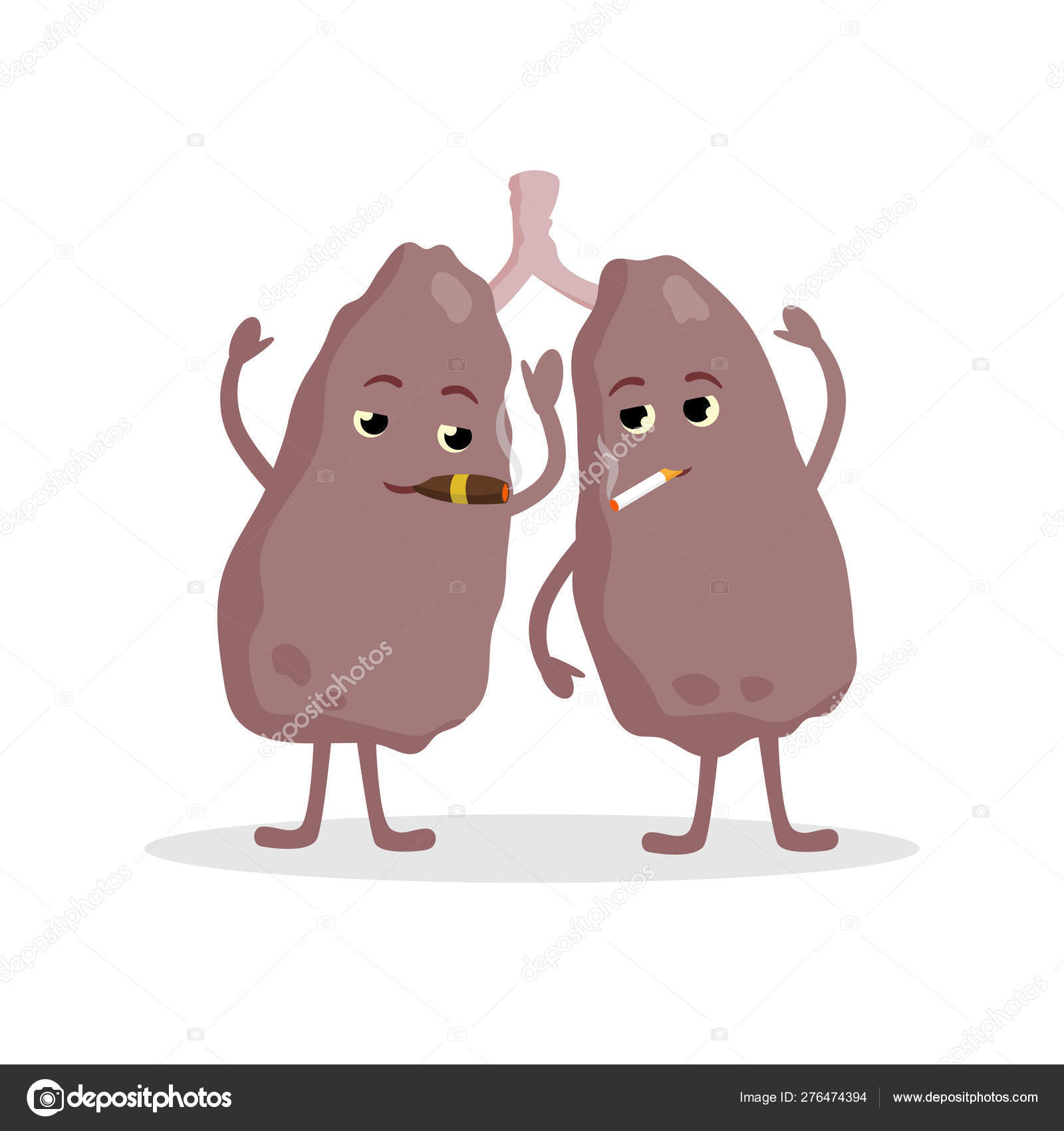 Lungs Cartoon Characters Smoking And Having Bad Health Lung Cancer Impact Of Cigarettes To Lungs Concept Vector Illustration Isolated On White Background Stock Vector C Bezvershenko 276474394