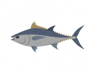 Tuna fish vector illustration in flat design isolated on white background.