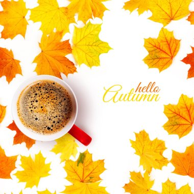 A cup of fragrant coffee on fallen autumn leaves. Autumn leaves and a cup of coffee.