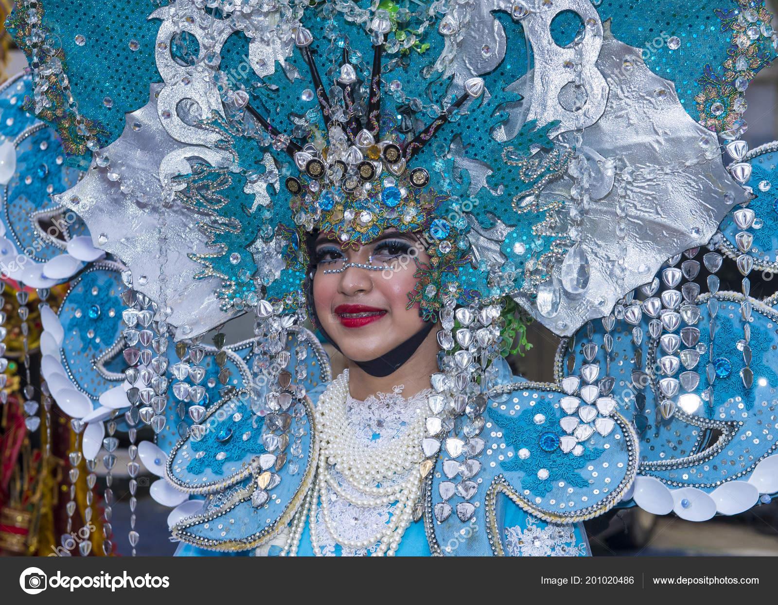 Singapur Feb Participante Desfile Chingay Singapur Febrero 2018