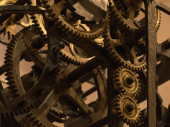 Picture of cogwheels in grandfather clock