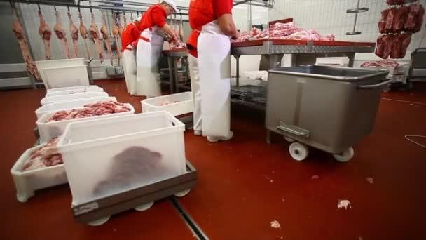 Řezník řezbářských vepřové maso jatečně upravených těl na řezací stůl.