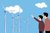 Fotografie Die Illustration des Windmühlenbetriebes, das Technologiekonzept