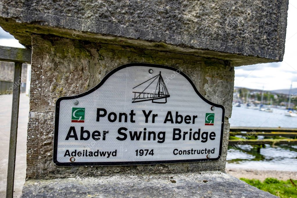 Caernarfon , Wales - May 01 2018 :The Aber Swing Bridge has been constructed in 1974
