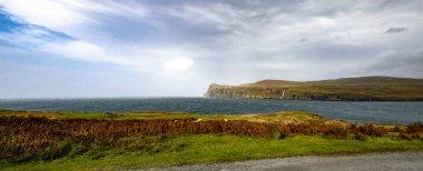 Cliffs seen from Lower Milovaig during the autumn storm Callum - Isle of Skye, Scotland - United Kingdom