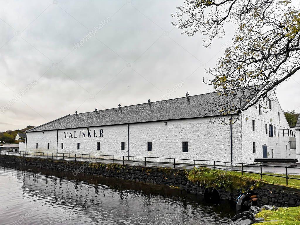 Isle of Skye , Scotland - October 10 2018: Talisker distillery is an Island single malt Scotch whisky distillery based in Carbost, Scotland on the Isle of Skye