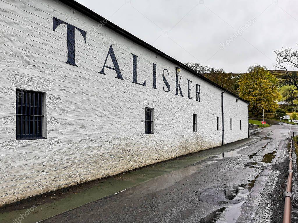 ISLE OF SKYE , SCOTLAND - OCTOBER 10 2018: Talisker distillery is an Island single malt Scotch whisky distillery based in Carbost, Scotland on the Isle of Skye.