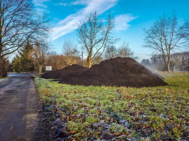 Steaming pile of manure on farm field in the winter