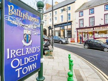 Ballyshannon , Ireland - February 20 2019 : Sign is explaining that Ballyshannon is Irelands oldest town
