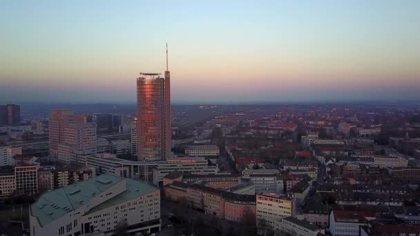 The city skyline of Essen under the sunset