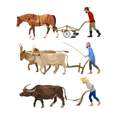 Farmers plows the land with various animals - horse, oxen, carabao. Set of vector illustrations isolated on white background