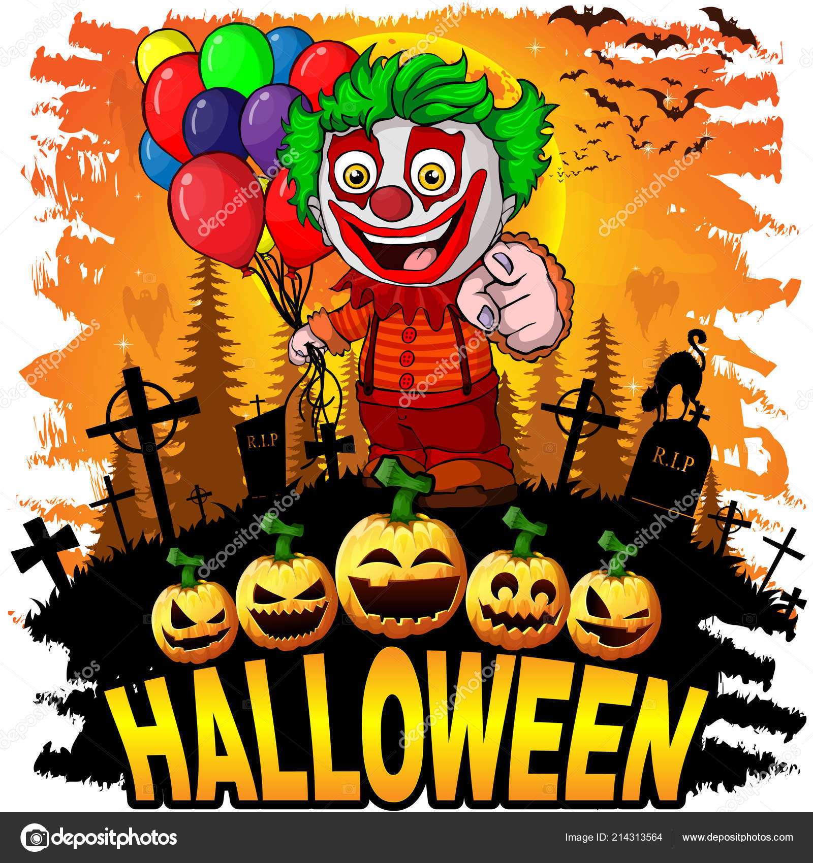 halloween design template clown vector illustration Векторное