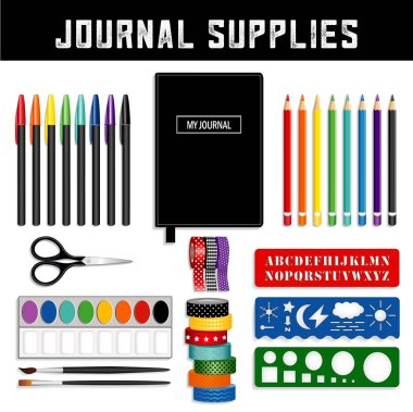 Journal supplies, Washi tapes, fine liner pens, watercolors and brushes, scissors, templates and stencils to sketch and draw art and graphics.
